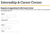 Request an appointment with Career Corner
