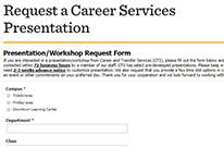 Request a Career Services presentation