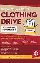 Career Closet Clothing Drive Nov. 4