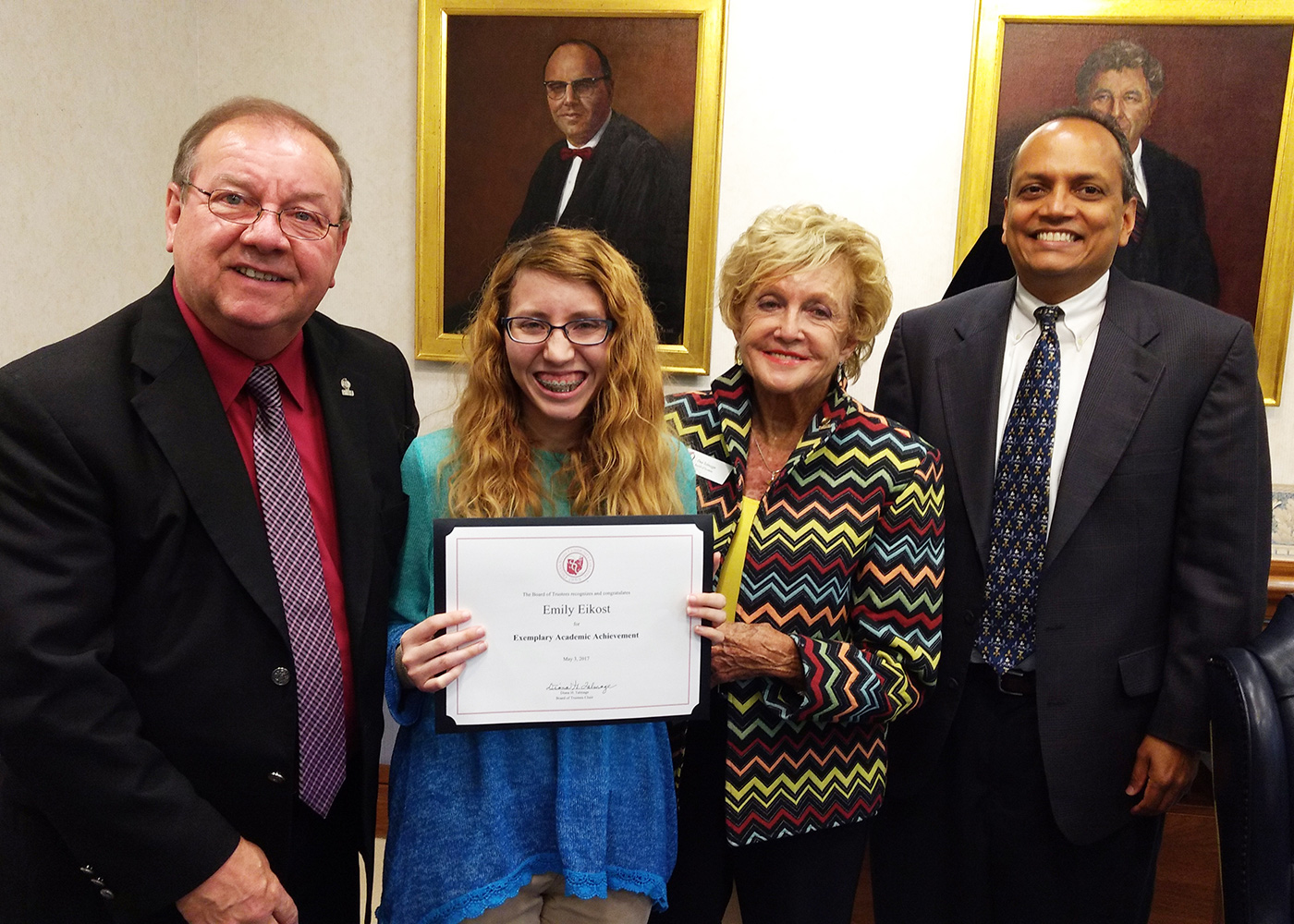 Student Life Committee Recognizes Emily Eikost