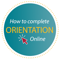 how to complete Online Orientation button