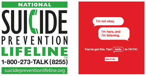 National Suicide Prevention - text hello to 741741 or call 1-800-273-8255